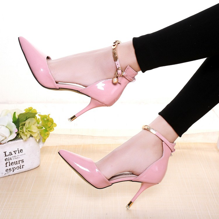 Primary image for pp112 Elegant sharp-headed ankle pumps w gold plating strap, size 34-38,pink