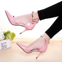 pp112 Elegant sharp-headed ankle pumps w gold plating strap, size 34-38,pink - $58.80