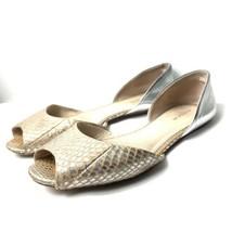 Coach Sherlock Women's 9 D'Orsay Flats Foil Snake Metallic Pink Silver Peep Toe - $39.60