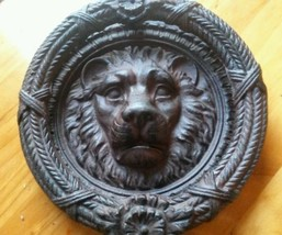 Huge Vintage Style Ornate Patina Iron Lion Head Front Door