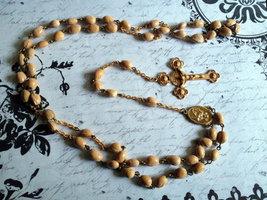 Vintage Jewelry, Catholic Rosary, Tan Beads, Br... - $37.00