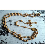 Vintage Jewelry, Catholic Rosary, Tan Beads, Brass Chain, 31 Inches, Rel... - $37.00