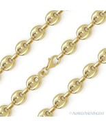 Sterling Silver w/ 14k Yellow Gold 8mm Rounded Puffed Marina Link Chain ... - $121.17+