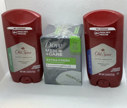 2 New Old Spice Anti Perspirant Plus 2 Bars Of Dove Body And Face Soap - $15.47