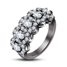 Black Rhodium Finish 925 Pure Silver White Sim Diamond Wedding Five Stone Ring - $82.99