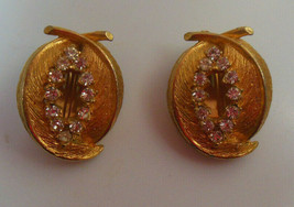Vintage Signed BSK Gold-tone Rhinestone Double Feather Shaped Clip-on Earrings - $28.80
