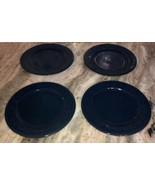 "Royal Norfolk Royal Blue 7 1/2""Stoneware Dinnerware Saucer Plates Set Of... - $29.28"