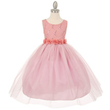 Dusty Rose Sequin Lace Flower Girl Dresses Bridesmaid Birthday Wedding Pageant - $57.00