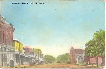 Main Street Smith Center Kansas  1911 Post Card