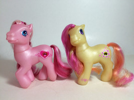 Lot of 2 G3 My Little Pony Jewel Yellow Gem Blossom & Pink Valenshy Toy ... - $12.86
