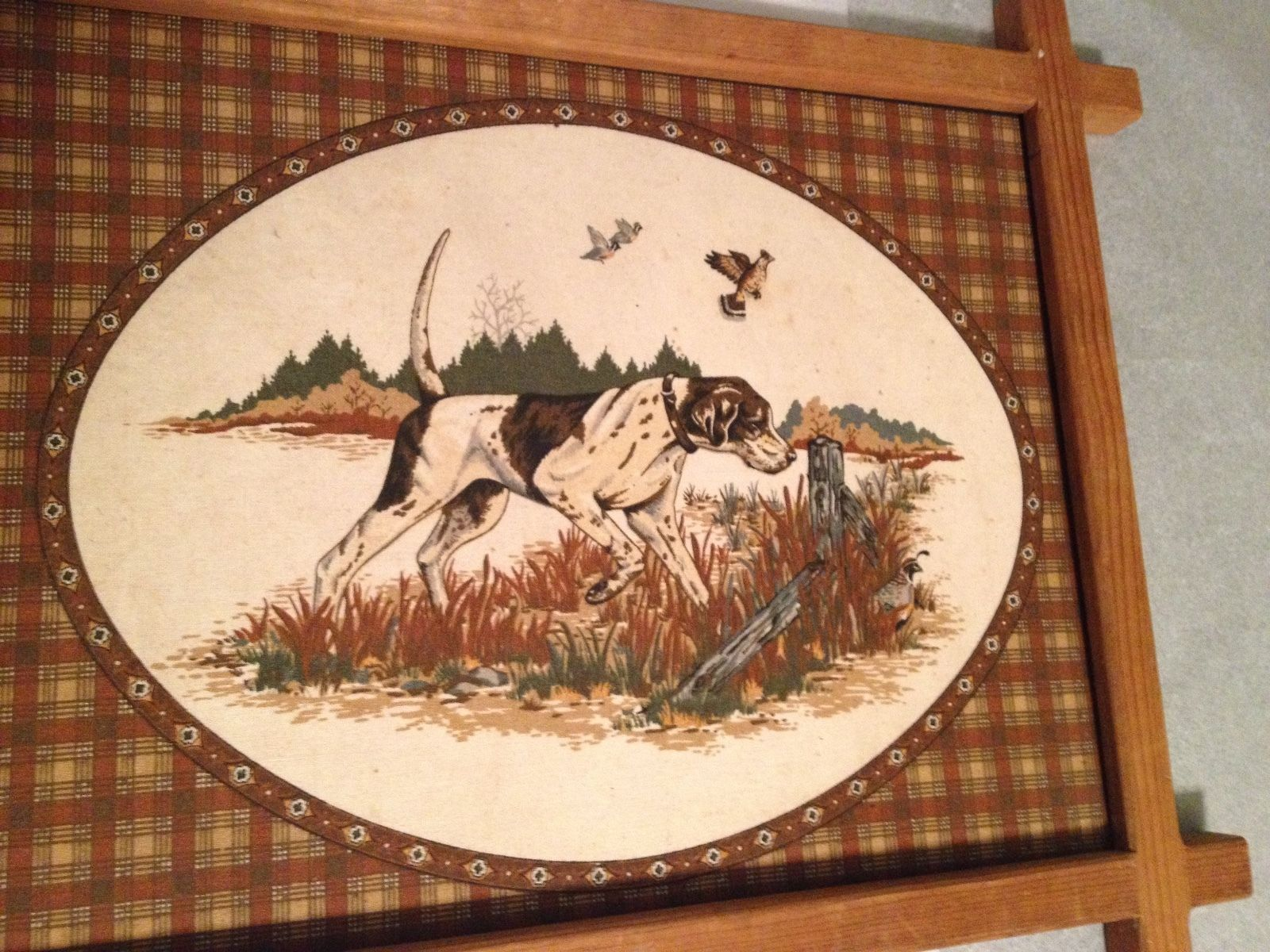 Old Vintage Pointer Dog Bird Hunting Art Print On Cloth Checked Cabin Decor