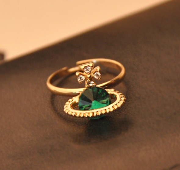 Primary image for Pretty Green Diamond Saturn Women's Cocktail Ring