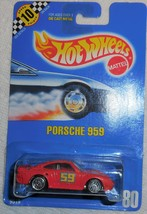 """1990 Hot Wheels Collector #80 """"Porsche 959"""" #59 Mint Vehicle On Sealed Card - $5.00"""