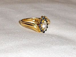 14K Yellow Gold White Sapphire Marquise Solitaire & Blue Sapphire Ring, ... - $179.99