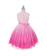 Fuchsia Ombre Flower Girl Dress Bridesmaid Birthday Wedding Pageant Part... - $50.00