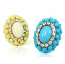 Hot Fashion Beaded Cluster Oval Shaped Women's Cocktail Ring(Yellow) - $8.99