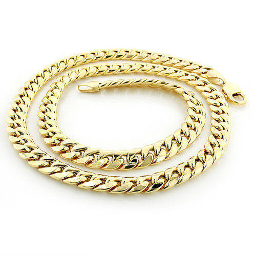 Solid 14k Yellow Gold 6.5mm Heavy Miami Cuban Link Chain Necklace, 22""