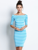 Ladies Half Sleeve Strapless Stripe Bodycon Stretch Party Pencil Dress (SkyBlue) - $15.95