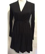 H&M WOMEN BLACK DRAPED V-NECK LONG SLEEVE CAREER CASUAL DRESS SIZE XS - $29.99