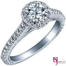 1.31 Carat (0.51) F-SI1 Natural Round Diamond Engagement Ring 14k Gold Pave Set - $2,513.61
