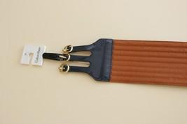 Womens Medium M Calvin Klein Waist Dress Wide Belt No Stretch Navy Blue Brown - $17.82