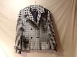 Ectetera Double Breasted Short Blazer Size 12 Woman's Lined White Navy Light