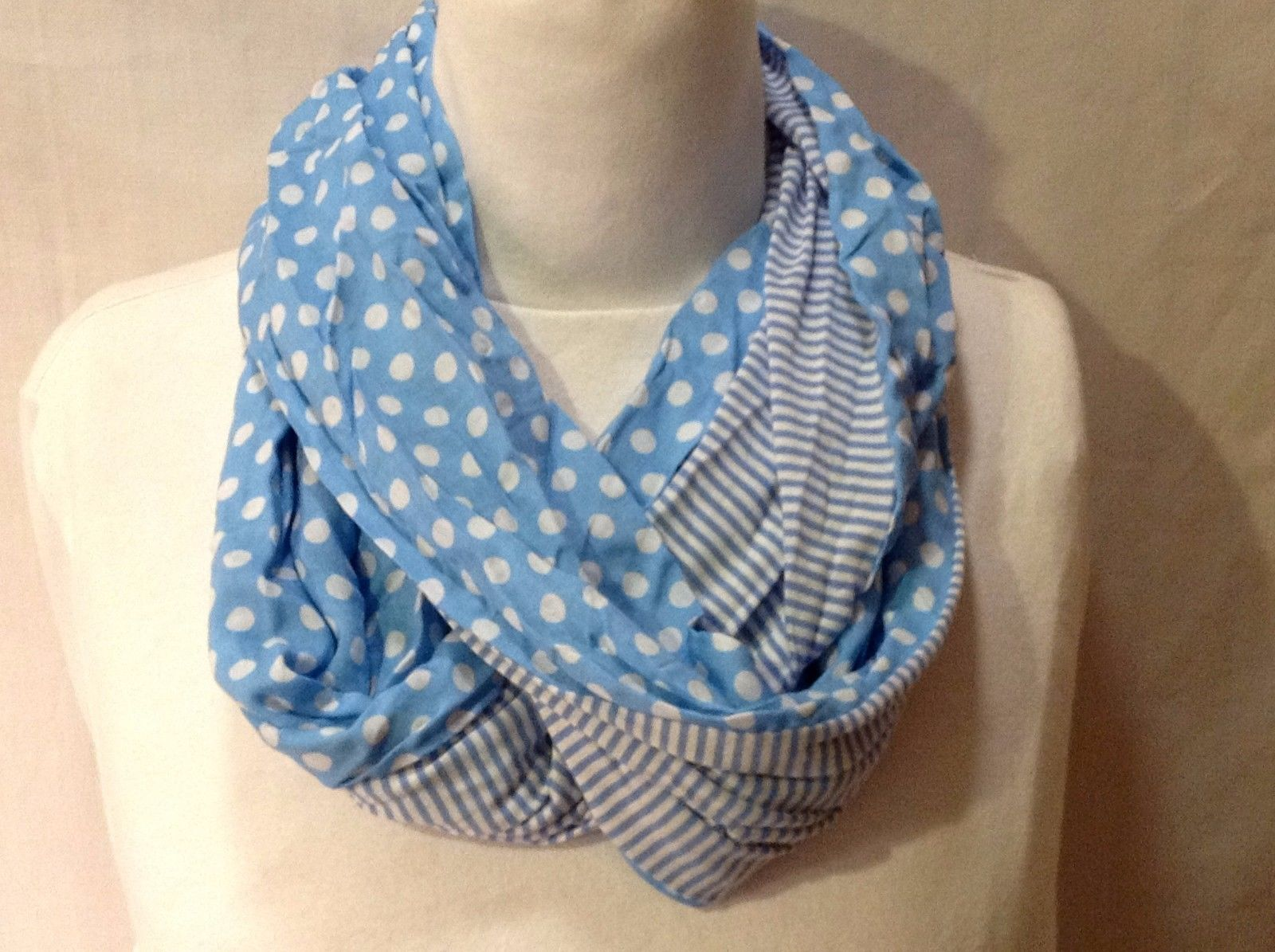 Adorable NWT New With Tags Sky Blue Infinity Scarf Polka Dot Striped White