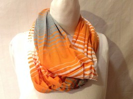 Cute Fun NWT New With Tags Cotton Infinity Scarf  Gray White Orange Striped