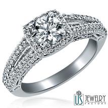 1.18ct Round Cut  Halo Set Diamond Engagement Ring 14k White Gold Split Shank - $2,276.01