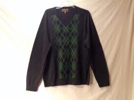 Men's Merona V Neck Sweater Italian Wool Lightweight Soft Gray Green Whi... - $59.39
