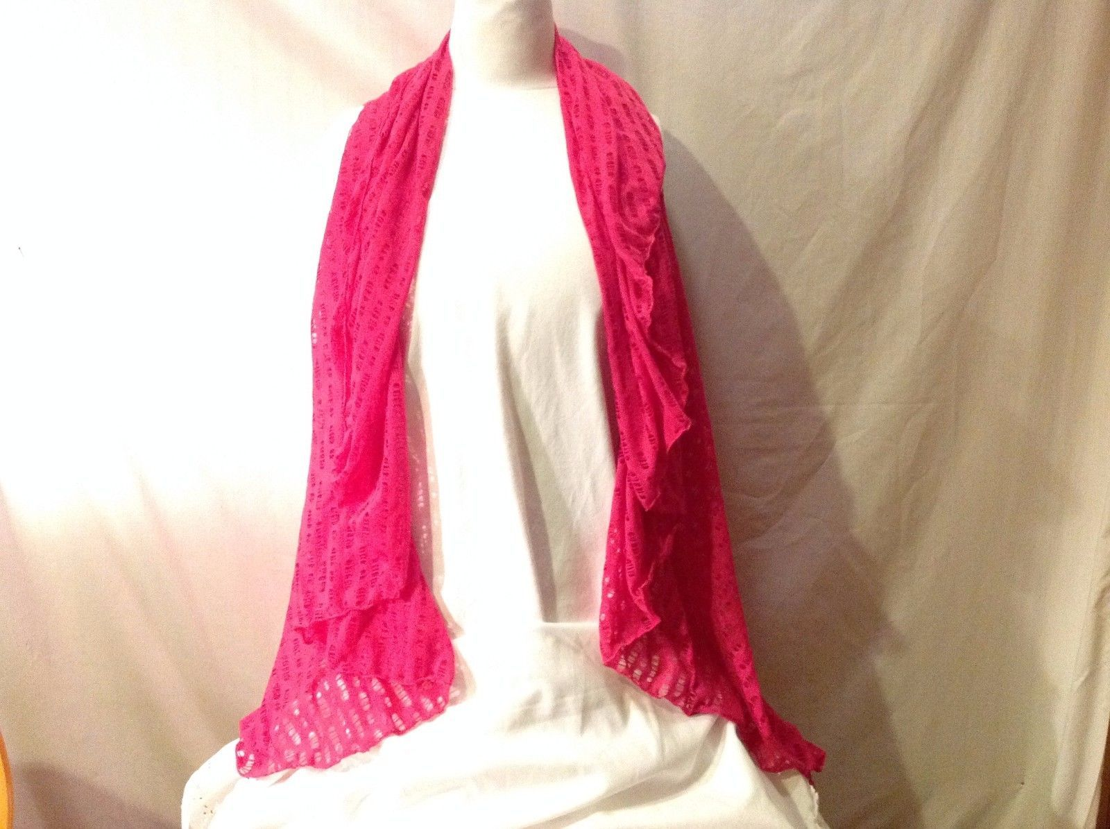 NWT Hot Pink Fuchsia Combo Sleeveless Cardigan Vest With Scarf Attached