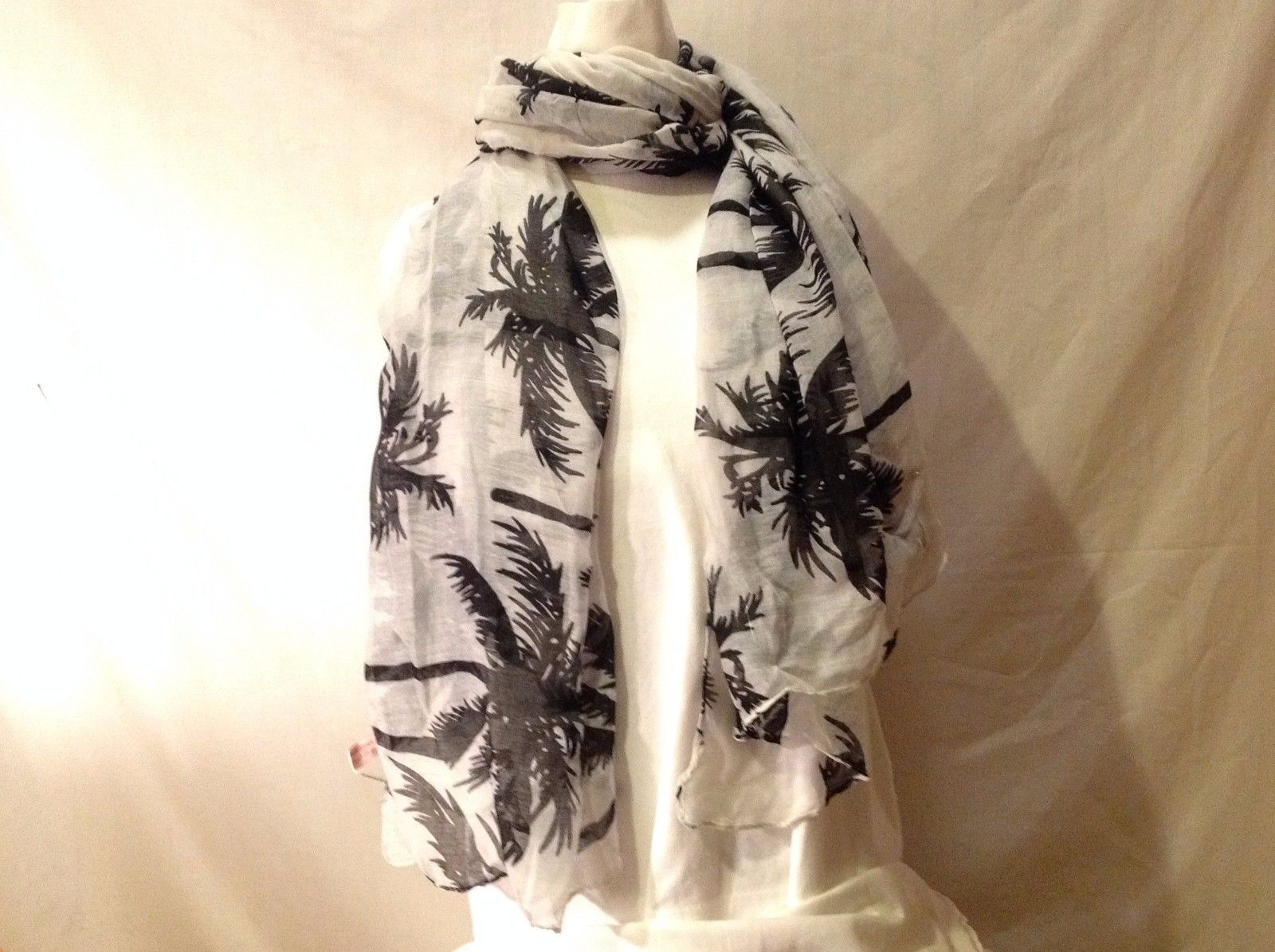 NWT New With Tags White Sheer With Black Palm Tree Printed Scarf