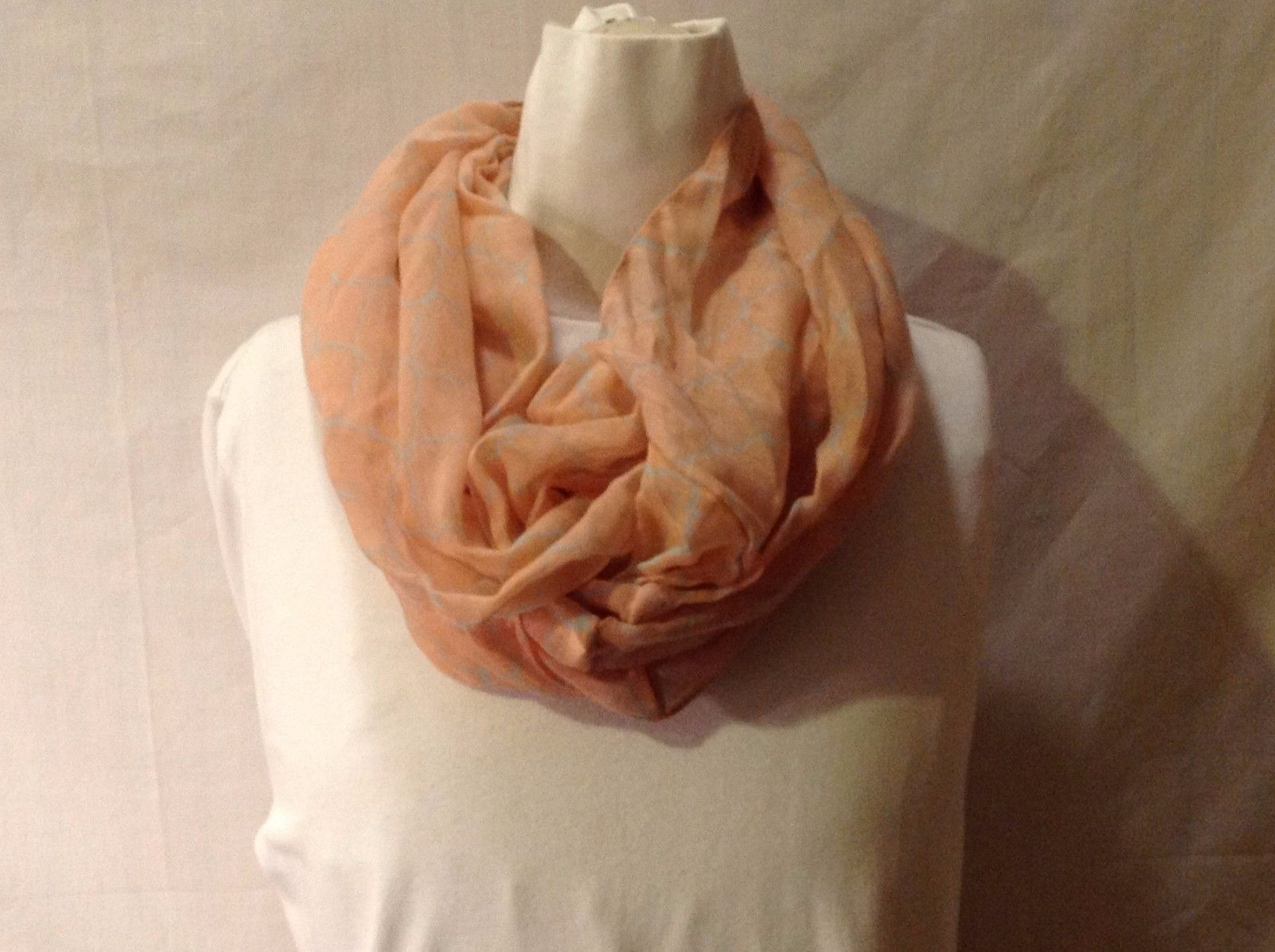 Light Peach Infinity Scarf Light Gray Diamonds Lightweight Polyester