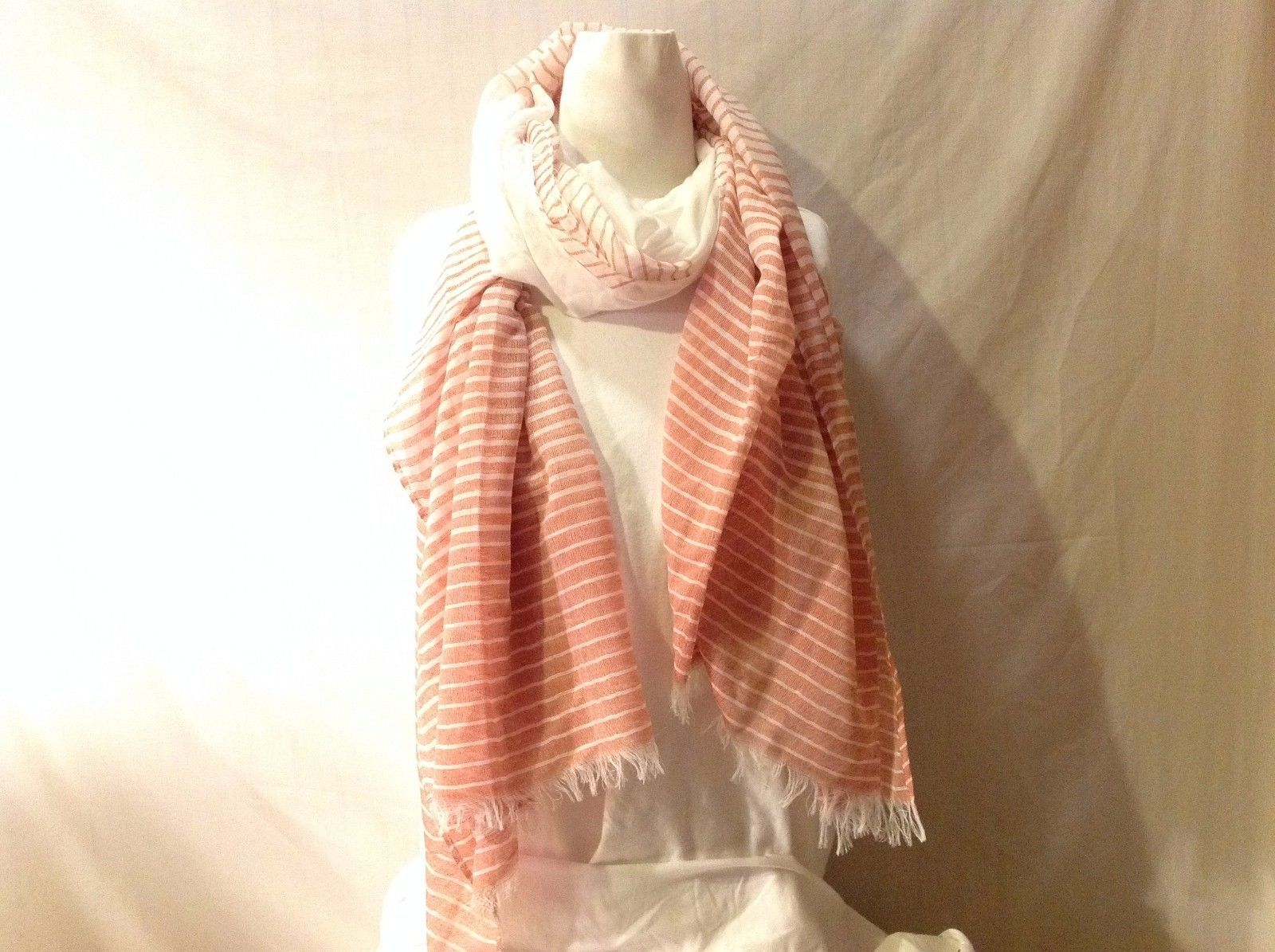 NWT New With Tags Light Salmon White Striped Scarf Super Soft Versatile Large