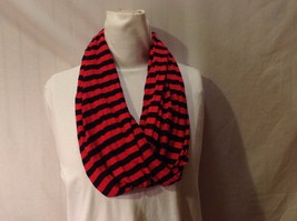 NWT New With Tags Red Navy Blue Horizontal Striped Infinity Scarf