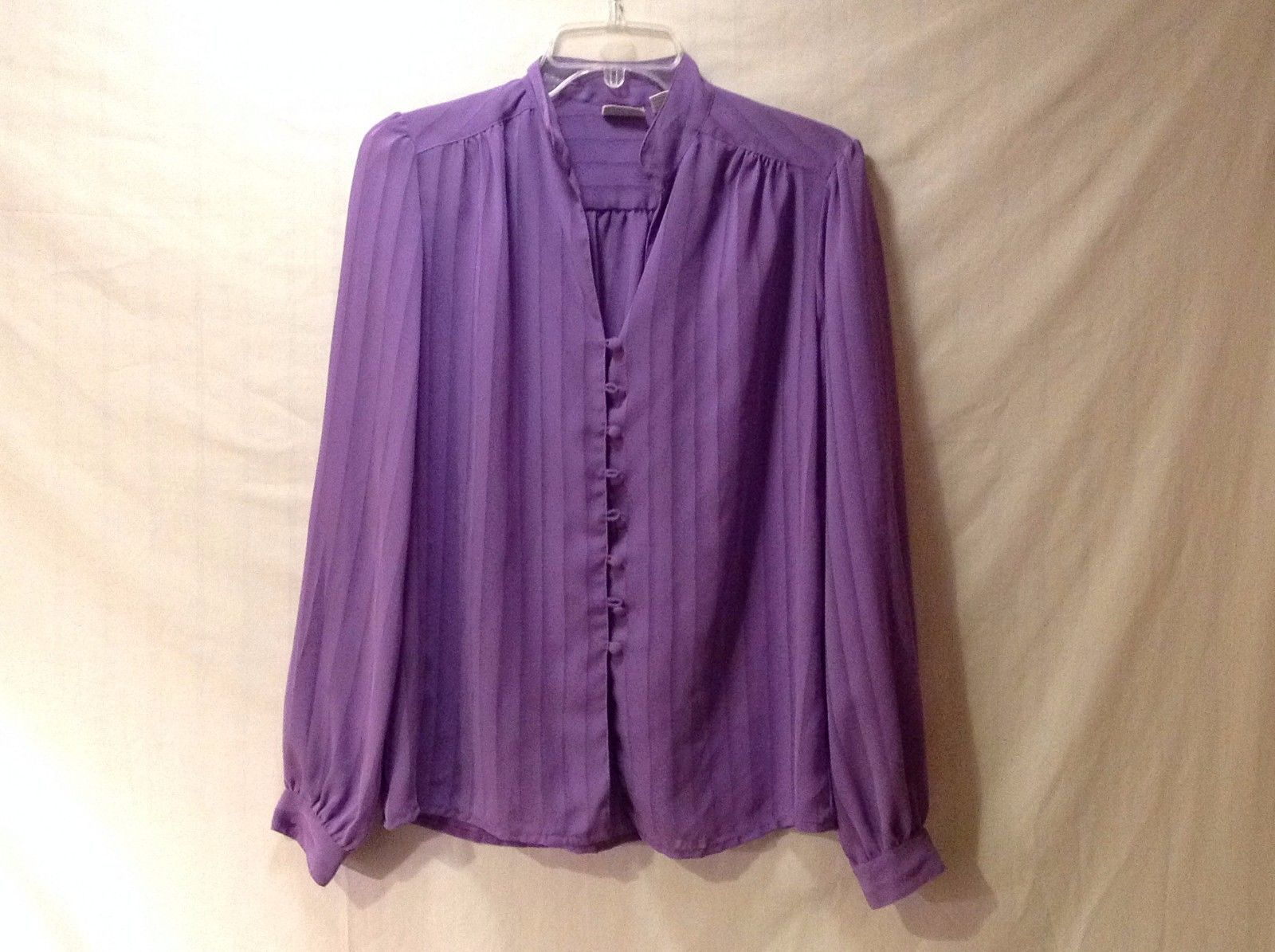 Women's Light Purple Lavender Silk Blouse Shirt Long Sleeve Button Up Size 12
