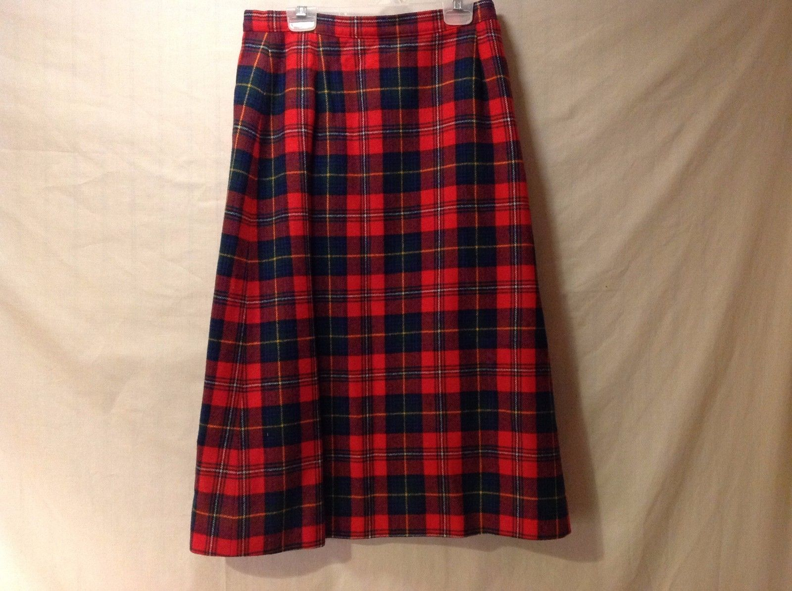Women's Pendleton Plaid Skirt Red Hunter Green Blue Yellow  Size 10