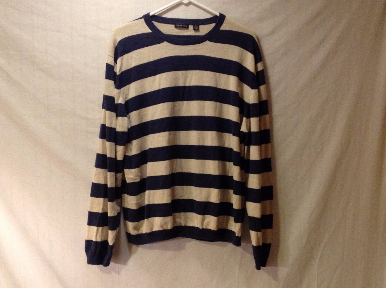 XL Crew Neck Sweater Structure Cream and Navy Horizontal Striped