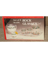 New Set of 4 Acrylic Rock Glasses Holiday (CS57) - $14.99