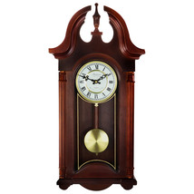 Bedford Clock Collection 26.5 Inch Chiming Pendulum Wall Clock in Colonial Mahog - $131.47