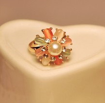 Women's Classic Gems Pearl Flower Shaped Adjustable Cocktail Ring - $8.99