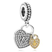 925 Sterling Silver & 14K Gold Love Locks Pendant Charm Bead QJCB833 - $45.88