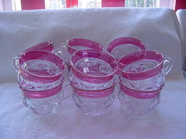 Tiffin thumbprint-Kings Crown-Ruby Flash-12 cups-beautiful - $95.00