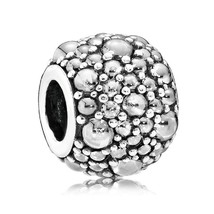 925 Sterling Silver Shimmering Droplets with CLear Zirconia Charm Bead Q... - $25.99