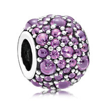 925 Sterling Silver Shimmering Droplets with Purple Zirconia Charm Bead ... - €21,15 EUR