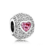 925 Sterling Silver Captivating Pavé Heart Charm Bead QJCB830 - $21.98
