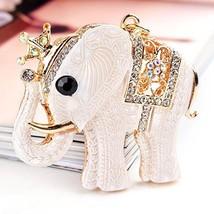 Reizteko Crown Elephant Keychain Keyring Key Ring Chain Charm Pendant for Woman