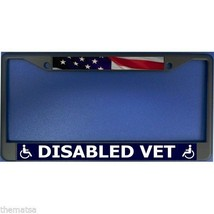DISABLED VET VETERAN AMERICAN FLAG BLACK LICENSE PLATE FRAME MADE IN USA - $29.69