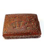 Rare Chinese beautiful rosewood carved garden family scene box - $300.00