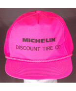 Vtg Michelin Hat-Discount Tire Co-Rope Bill-Snap Back-Nylon-Hot Pink-Aut... - $27.10